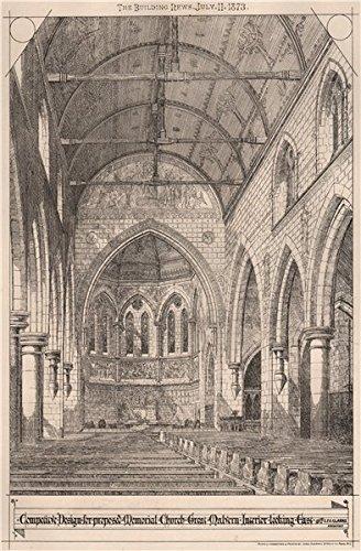 Proposed Memorial Church Great Malvern Interior. EFC Clarke, Architect - 1873 - old print - antique print - vintage print - Worcestershire art ()