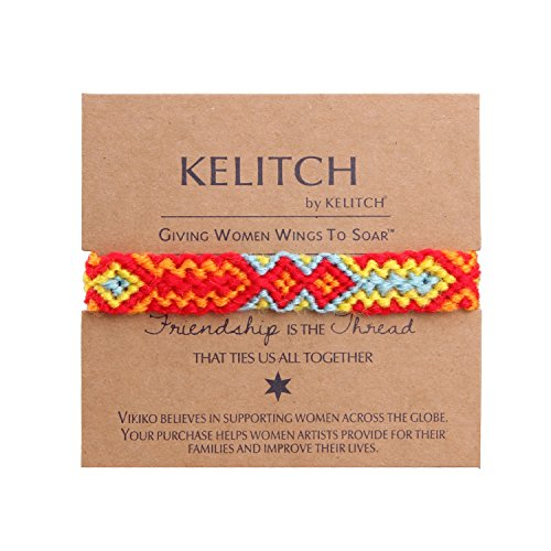 KELITCH Red/Yellow Woolen Threads Handmade Braided Friendship Bracelet