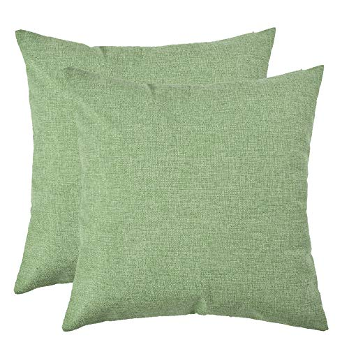 Set of 2, Artcest Decorative Linen Bed Throw Pillow Case, Sofa Durable Modern Stylish, Comfortable Cushion Cover for Couch (Moss Green, 18x18 inches)