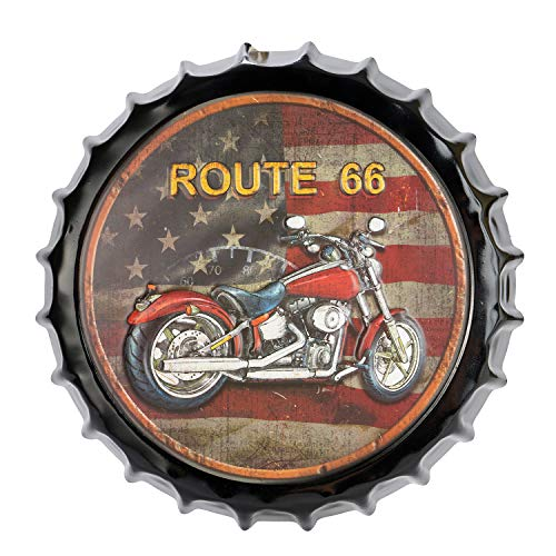 YINASI Route 66 Retro Bottle Cap Metal Tin Signs, Beer Cap Shape Handmade Painting Decoration Plates Wall Art Plaque Vintage Retro Wall Art for Office Bar/Cafe Bar Restaurant 35cm/13.7inch