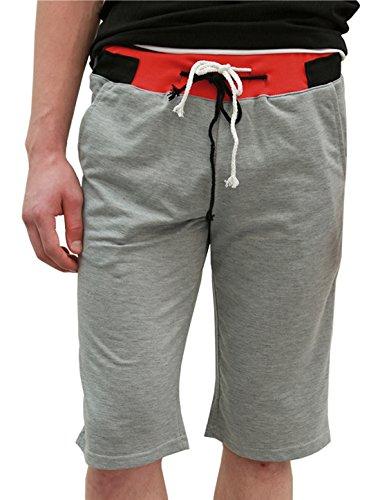 Allegra K Pantalones Cortos Rectos Para Hombres Cintura Elástica Con Cordón Gris