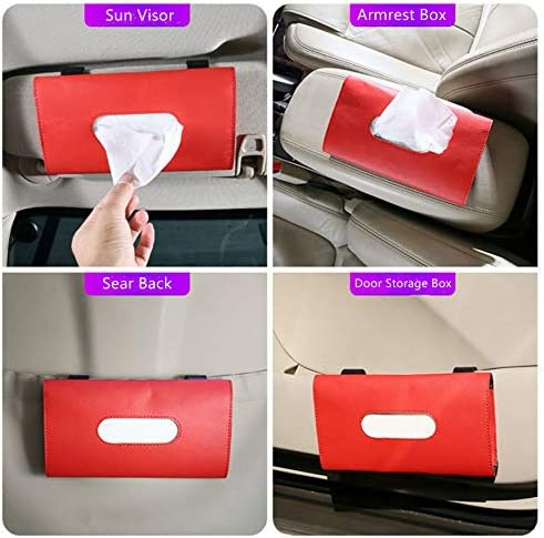 Red Sun Visor Tissue Holder Visor Mask Holder 10 Pcs Face Mask Included Napkin Holder For Car Backseat Tissue Case Fit For Vehicle SUV Pu Leather Tissue Box Facial Towel Holder