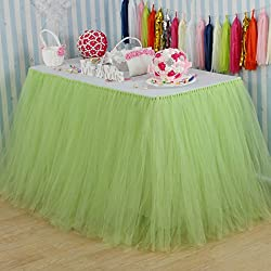 vLovelife 100cm Light Green Tulle Tutu Table Skirt Tableware TableCloth Party Baby Shower Birthday Wedding Decorations Favor Customized Size Available
