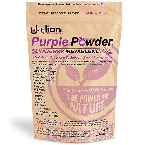 "Hion Purple Powder – SLIMBERRY METABLEND   30 Servings   Winner of ""BEST WEIGHT MANAGEMENT SUPPLEMENT"" – HEALTHY AWARDS   Vegan, alkaline and gluten-free. Premium quality Superfood for weight management"