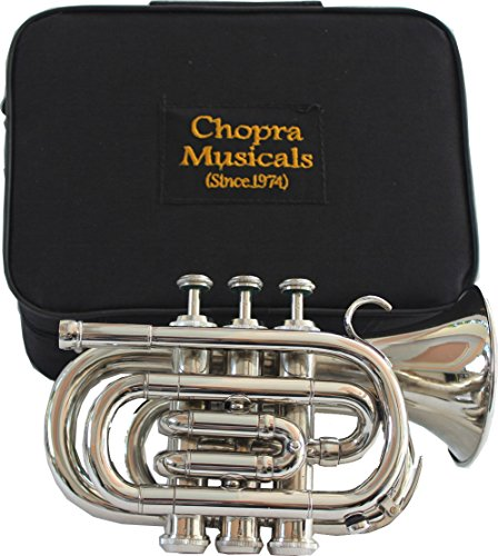 TRUMPET POCKET Bb NICKEL PLATED WITH BAG 7C MOUTH PIECE by Chopra (Image #4)