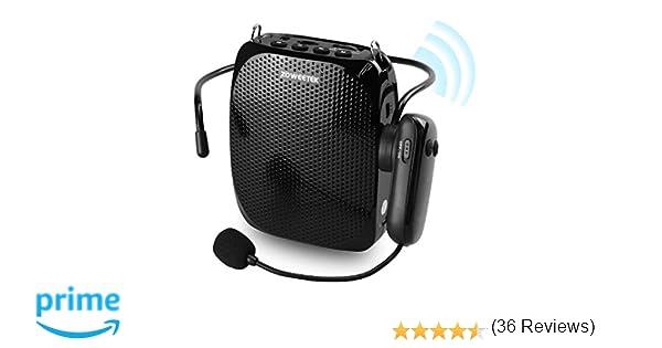 ZOWEETEK Amplificador de Voz inalámbrico (10W) con 1800 mAh batería de Litio con Dos micrófono (inalámbrico y Cable) Amplificador portatil para Aula, ...