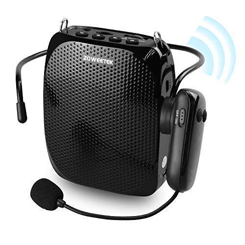 ZOWEETEK Voice Amplifier with UHF Wireless Microphone Headset, 10W 1800mAh Portable Rechargeable PA system Speaker for Multiple Locations such as Classroom, Meetings, Promotions and Outdoors]()