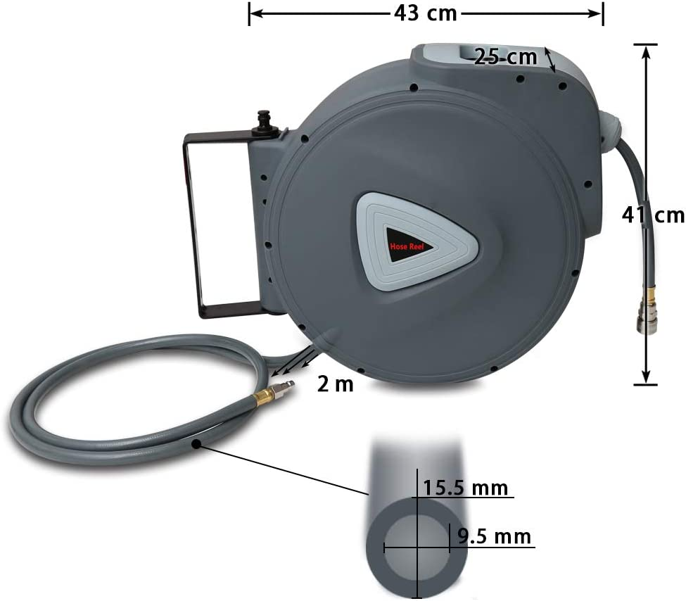 Hengda Auto Hose Reel 20+2m, Compact Hose Reel with Quick Release Connectors, Wall Mounted Retractable Air Hose Reel, 180 Degrees Swiveling 30m