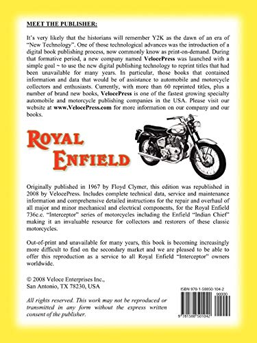 ROYAL ENFIELD FACTORY WORKSHOP MANUAL: 736cc INTERCEPTOR AND ENFIELD INDIAN  CHIEF
