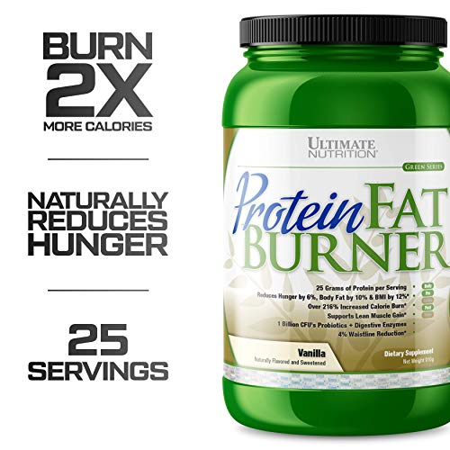Ultimate Nutrition Protein Fat Burner Whey Protein Powder for Weight Loss - Keto Friendly with Natural Hunger Reducing Ingredients, 25 Servings, Vanilla