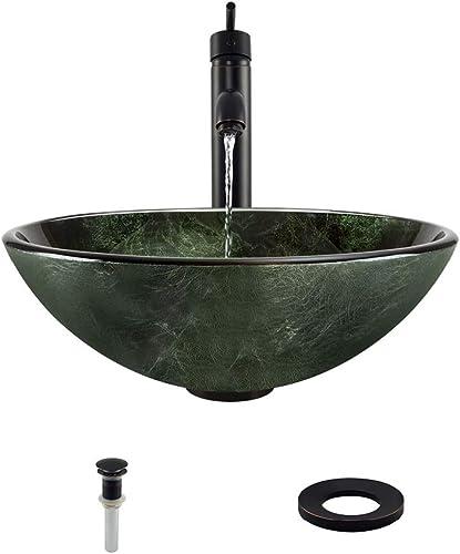 629 Antique Bronze Bathroom 718 Vessel Faucet Ensemble Bundle – 4 Items Vessel Sink, Vessel Faucet, Pop-Up Drain, and Sink Ring