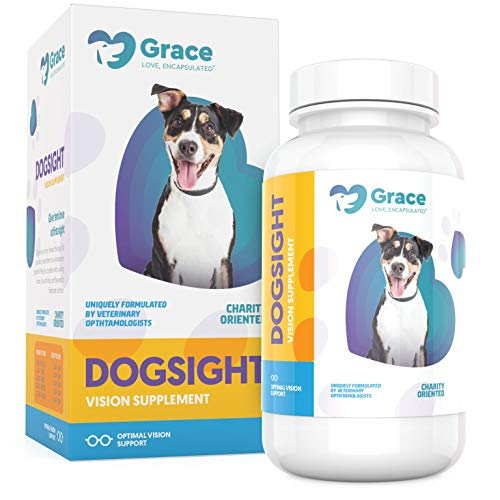 Dog Eye and Vision Supplement – Omega 3 Fish Oil, Grape Seed and Pine Bark Extract, Lutein and Vitamin Formula to Support Sight – for Medium and Large Dogs – 120 Capsules – DogSight by Grace