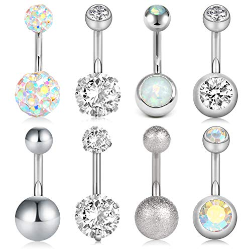 VCMART 8Pcs Short Belly Button Rings 14G Stainless Steel for Women Girls Navel Belly Rings Crystal CZ Barbell Body Piercing 10mm Bar
