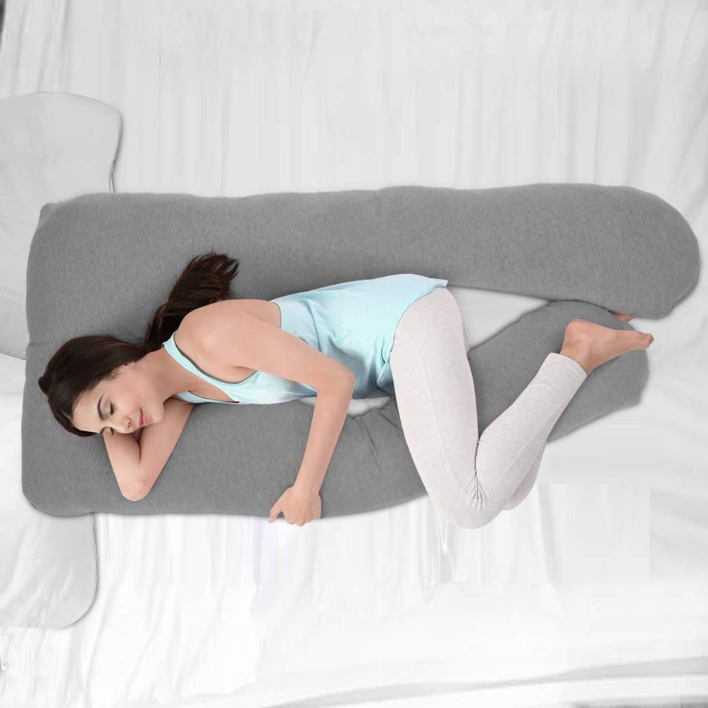 Pregnancy Pillow-55 inch U Shape Full Body Pillow with Zipper Removable Cover