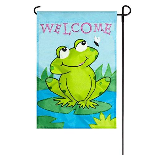 Jetmax Spring Frog Deluxe Sculpted Applique Garden Flag
