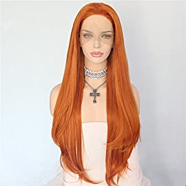 Sapphirewigs Orange Color Natural Wave Silky Soft Beauty Blogger Daily Makeup Cosplay Heat Resistant Synthetic Lace Front Party Wigs
