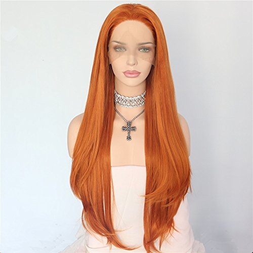Sapphirewigs Orange Color Natural Hairline Silky Soft Beauty Blogger Daily Makeup Synthetic Lace Front Party -