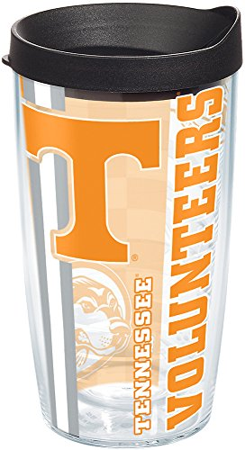 (Tervis 1215465 Tennessee Volunteers College Pride Tumbler with Wrap and Black Lid 16oz, Clear)