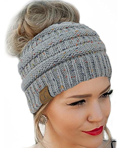 Messy Bun Hat Beanie CC Quality Knit (Natural Grey Flecked) by BeYOUtiful Trends