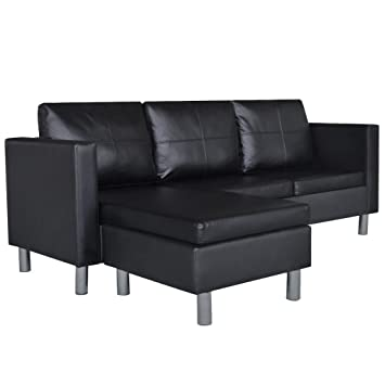 Amazon vidaXL Black Artificial Leather Sectional Sofa