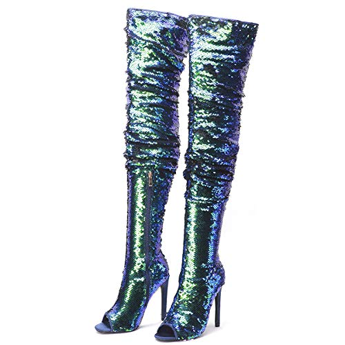 MOFEEDOUKA Women's Over The Knee Boots High Heels Fashion Sparkle Sequins Peep Toe Stiletto Thigh High Booties