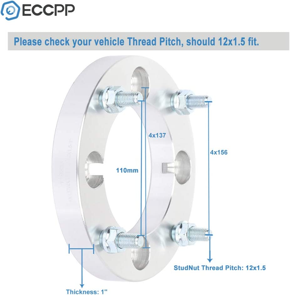 ECCPP Wheel Spacers 4x137 to 4x156 12x1.5 110 1 Compatible with 2011-2016 Can-Am Commander 1000 2011-2015 Can-Am Commander 800