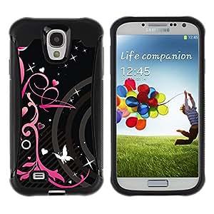 """Hypernova Defender Series TPU protection Cas Case Coque pour Samsung Galaxy S4 IV I9500 [Corazones negros primavera floral de la mariposa""""]"""