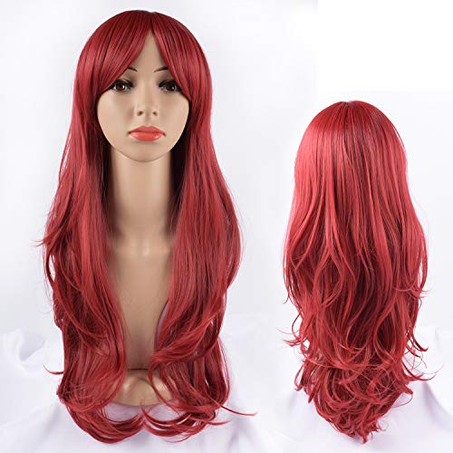 Tofafa Red Wigs for Women Long Wavy Wig,Fun for Everyday or Cosplay and Costume,Comes with a Free Wig Cap(Red Wig 24 inch) ()
