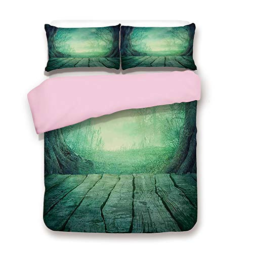 Pink Duvet Cover Set,Twin Size,Spooky Scary Dark Fog Forest with Dead Trees and Wooden Table Halloween Horror Theme Print,Decorative 3 Piece Bedding Set with 2 Pillow Sham,Best Gift For Girls Women,Bl