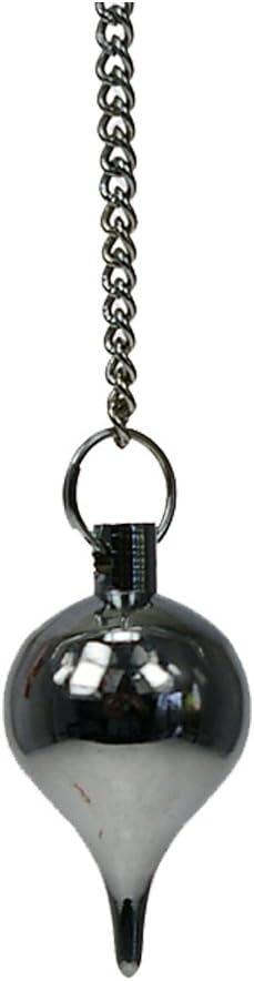 Péndulo de radiestesia, pequeña gota de metal cromado y funda de ante de imitación