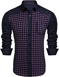 "<span class=""a-offscreen"">[Sponsored]</span>Mens Slim Fit Plaid Long sleeve Button Down Casual Shirt"