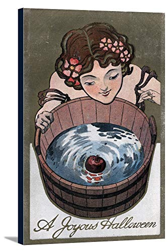 Halloween Greeting - Woman Looking in Wood Barrel (22 3/8x36 Gallery Wrapped Stretched Canvas)]()