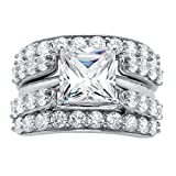 Platinum over Sterling Silver Princess Cut Cubic Zirconia Multi Row Jacket Wedding Ring Set Size 6