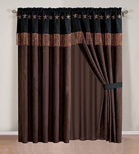 4 Piece WESTERN Lodge - Dark Brown / Black Embroidered Lone