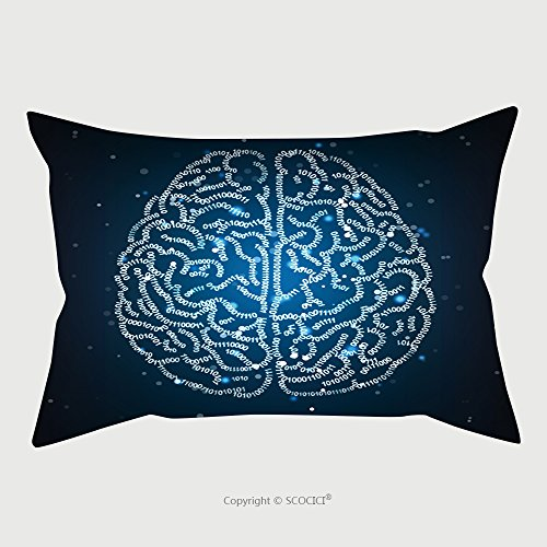 Custom Satin Pillowcase Protector Concept Illustration Of A Human Brain Formed Out Of Binary Code Digits Shiny Artificial 429420898 Pillow Case Covers Decorative by chaoran
