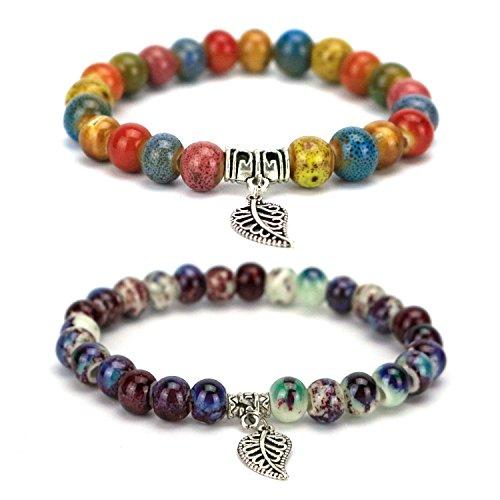GemEwell 2 PCS Vintage Tibetan Silver Porcelain Bracelets Fashion Jewelry Ceramic Beads Religious Bracelets( Colorful & Kiln Discoloration)