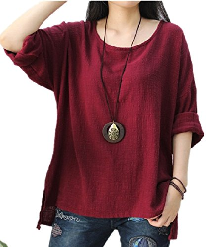 Beenice-Linen-Unbalanced-Loose-Casual-Long-Sleeve-Batwing-Blouse-Pullover