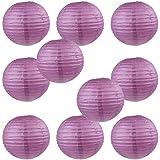 "WYZworks Round Paper Lanterns 10 Pack (Purple Plum, 10"") - with 8"", 10"", 12"", 16"" option"
