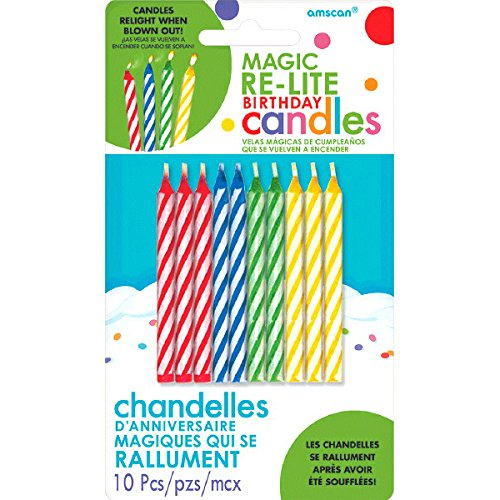 Amscan (Amsdd Party Time Magic Relightable Birthday Candles (120 Piece), Multi /Wax, 2.5''