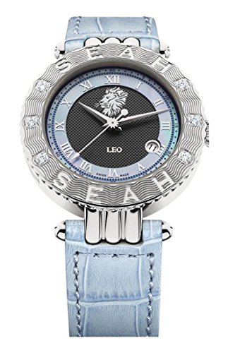 Seah Empyrean Zodiac Sign Leo, Limited Edition 42mm, Silver-Tone, Swiss Made Automatic, Diamond Watch with Hirsch Alligator - Alligator White Strap Diamond