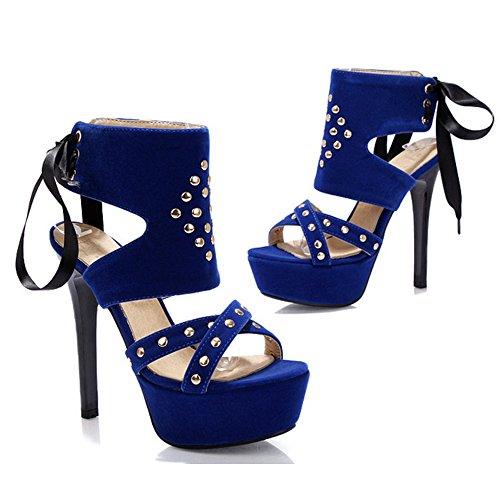 Mujer Plataforma Moda al COOLCEPT Zapatos Peep Envuelto Sandalias Aguja Toe Tacon Tobillo Slingback Cordones Azul de 4d7wx57Rq
