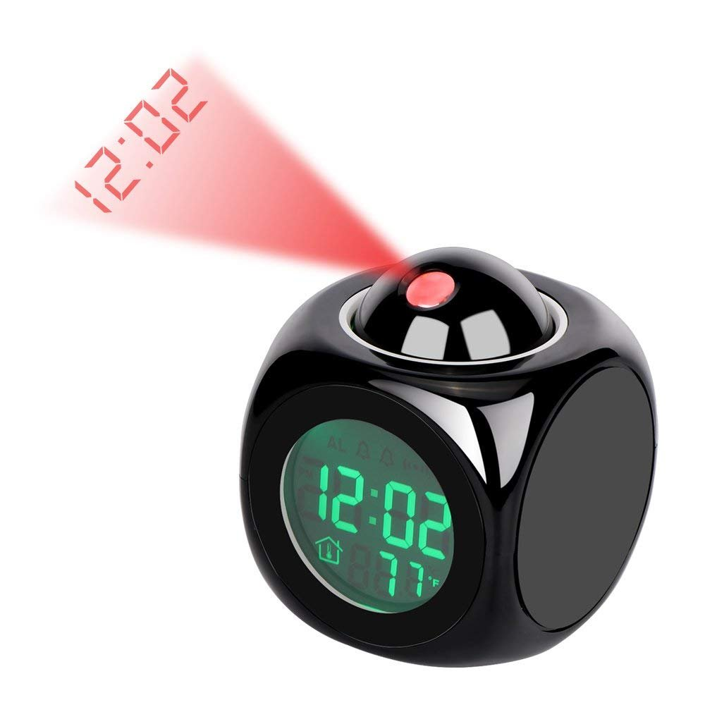Yosoo LED Projector Alarm Clock Multi-function Digital Temperature Display Voice Talking Projection Clock 12/24 Hour Switched Home Decor
