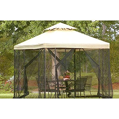 8' X 8' Replacement Canopy Top Cover and Netting Set for Lowe's Garden Treasure 8'x8' Gazebo: Garden & Outdoor