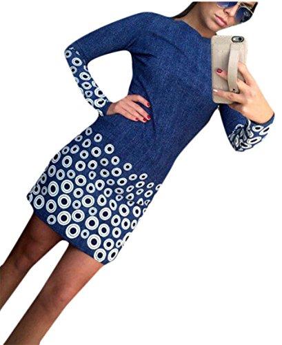 Dark Mini Long Neck Boat Blue Pencil Sleeve Jaycargogo Slim Fit Womens Dress Print qp8TWPx