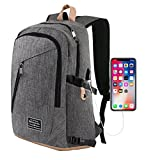 Cheap Travel Laptop Backpack, Slim Business Computer Backpack with Microfiber Leather Bottom and USB Charging, Water Resistant Polyester School Bag Fits Under 17 Inch Laptop (Gray)