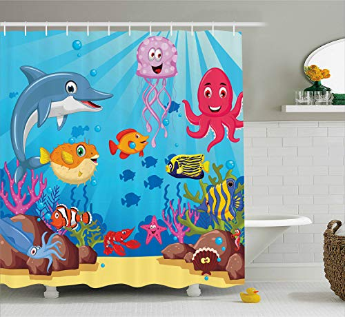 Ambesonne Whale Decor Collection, Happy Sea Animals Cartoon Characters Mollusc Rocks Sun Rays Comic Artwork, Polyester Fabric Bathroom Shower Curtain Set with Hooks, Blue Yellow -