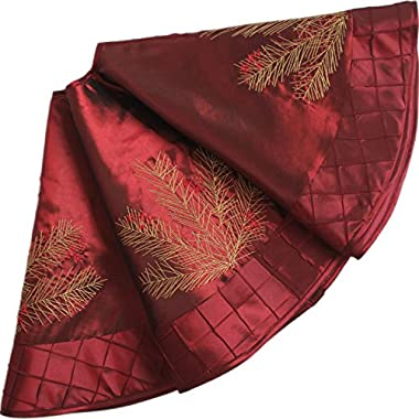 SORRENTO Deluxe Embroidered Pine Branches Cherry with Pintuck Border,Extra Large ,Christmas Tree Skirt-50