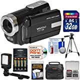 Vivitar DVR-508 HD Digital Video Camera Camcorder (Black) 32GB Card + Batteries & Charger + Case + LED Video Light + Tripod + Kit