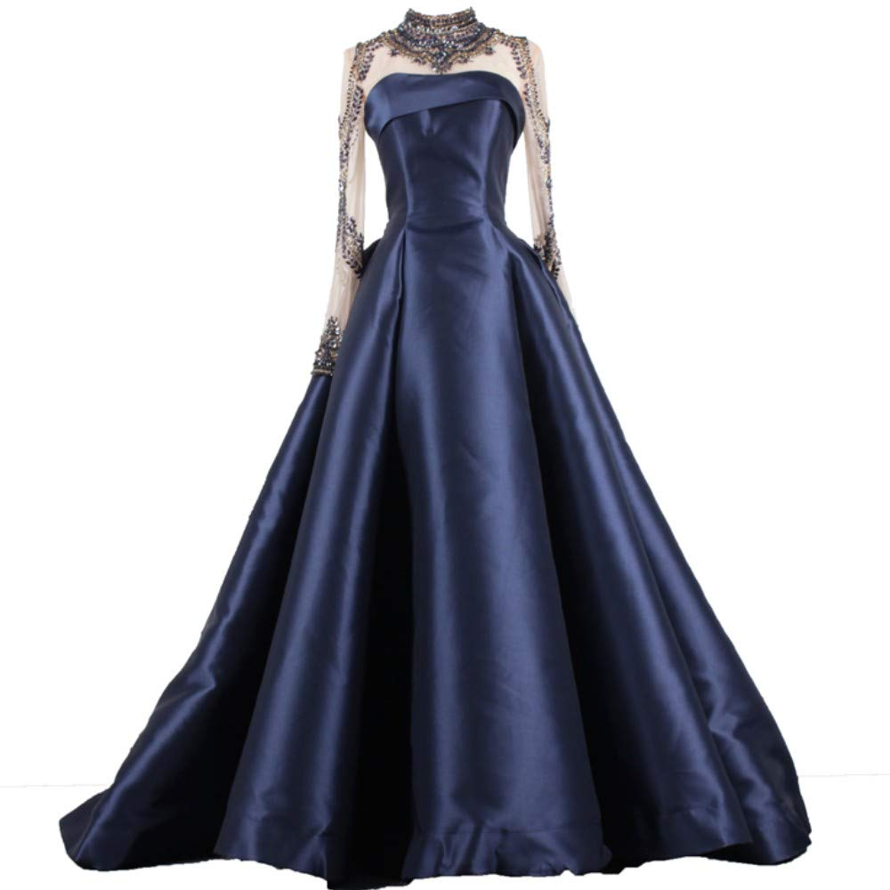 Navy bluee Liaoye Long Evening Dress for Women Formal with Sleeves Beaded Prom Dress Mermaid Party Ball Gowns