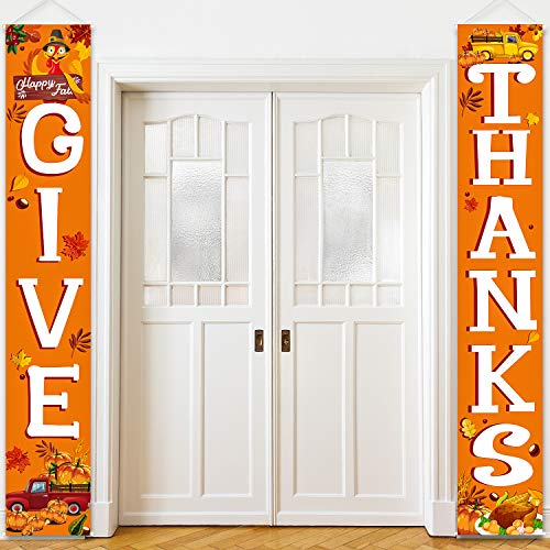 Blulu Welcome Fall Harvest Decorative Porch Sign Autumn Door Sign Pumpkin Maple Leaf for Fall Party Thanksgiving Decoration Garden Yard (Orange Give Thanks)